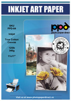 PPD Inkjet Printable Canvas 100% Real Cotton 340g 125lb 17mil 11x17""