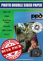"PPD Inkjet Brochure Paper Double Sided Smooth Matte Finish 35lb. 130gsm 6.3mil 11 x 17"" Bulk Wholesale Pack"