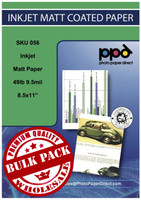 "PPD Inkjet High Resolution Matt Paper 49lb. 180gsm 9.5mil 8.5 x 11"" Bulk Wholesale Pack"