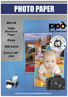 "PPD Inkjet Brochure Paper Glossy 36lb. 130gsm 6.2mil 8.27 x 11.69"" (A4)"