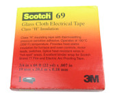 3M™ Scotch® Glass Cloth Electrical Tape 69, 3/4in x 66 Feet, White, Silicone Adhesive, 3/4 in x 66 ft