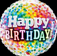 Rainbow Confetti Birthday - 45cm Flat Foil