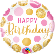 "45cm Birthday ""Pink & Gold Dots"" - Inflated Foil"