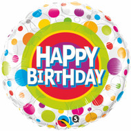 45cm Polka Dots Birthday - Inflated Foil