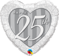 "Anniversary ""25th"" - 45cm Inflated Foil"