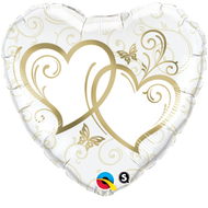 Entwined Gold Hearts - 45cm Inflated Foil
