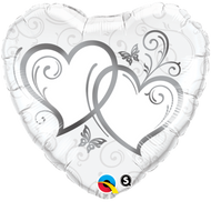 Entwined Silver Hearts - 45cm Inflated Foil