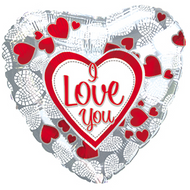 "43cm ILY ""Mosaic Hearts"" - Inflated Foil"