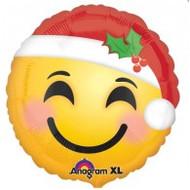 "Xmas ""Emoji Santa"" - 45cm Inflated Foil"