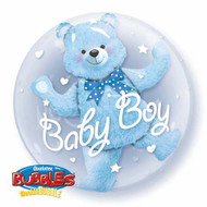 """Baby Boy """"Blue Bear"""" - Inflated 24"""" Double Bubble"""