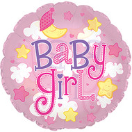 """24"""" (61cm) Clear Film Baby Girl Clouds"""