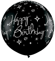 "90cm (36"") ""Sparkles Birthday"" - Pack of 2 (Silver & Black)"