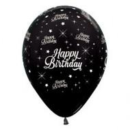 "30cm Birthday ""Metallic Black"" - Pack of 25"