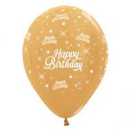 "30cm Birthday ""Metallic Gold"" - Pack of 25"