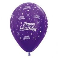 "30cm Birthday ""Metallic Purple"" - Pack of 25"