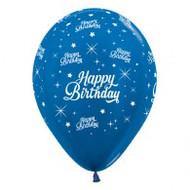 "30cm Birthday ""Metallic Blue"" - Pack of 25"