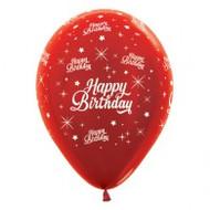"30cm Birthday ""Metallic Red"" - Pack of 25"