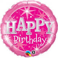 "Birthday ""Pink Sparkle"" - 90cm Flat Shape"