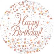 "Happy Birthday ""Rose Gold"" - 45cm Flat Foil"