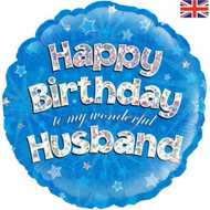 Happy Birthday Husband - 45cm Flat Foil