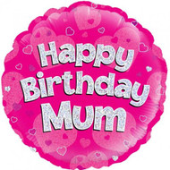 Happy Birthday Mum - 45cm Flat Foil