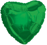 43cm Solid Green Hearts - Flat Pack of 5