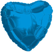 43cm Solid Blue Hearts - Flat Pack of 5