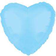 43cm Solid Light Blue Hearts - Flat Pack of 5