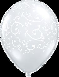 "28cm Clear ""Filigree & Hearts"" - Loose Each"