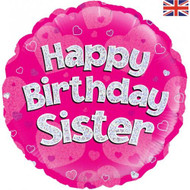 Happy Birthday Sister - 45cm Flat Foil