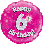 #6 Birthday Pink - Inflated 45cm Foil