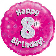 #8 Birthday Pink - Inflated 45cm Foil