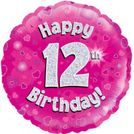 #12 Birthday Pink - Inflated 45cm Foil