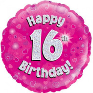 #16 Birthday Pink - Inflated 45cm Foil