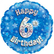 #6 Birthday Blue - Inflated 45cm Foil