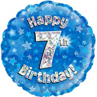 #7 Birthday Blue - Inflated 45cm Foil