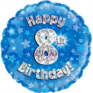 #8 Birthday Blue - Inflated 45cm Foil