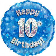 #10 Birthday Blue - Inflated 45cm Foil
