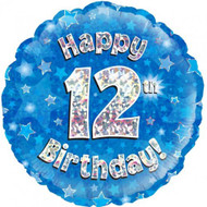 #12 Birthday Blue - Inflated 45cm Foil