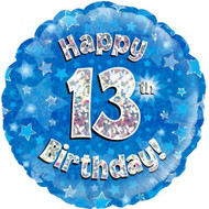 #13 Birthday Blue - Inflated 45cm Foil