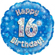 #16 Birthday Blue - Inflated 45cm Foil