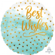 "45cm Best Wishes ""Gold Confetti"" - Inflated Foil"