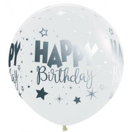 60cm Birthday Print - Clear with Silver Print