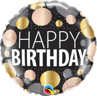 "45cm Happy Birthday ""Big Metallic Dots"""