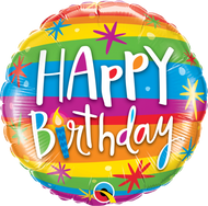 "45cm Happy Birthday ""Rainbow Stripes"""
