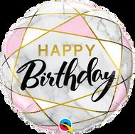 """45cm Happy Birthday """"Marble Rectangles"""""""