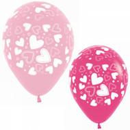 30cm Pink Heart Latex - Loose Each
