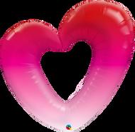 "42"" Pink Ombre Heart - Flat Shape"