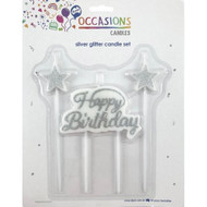 """Candle Set - Silver """"Happy Birthday"""""""
