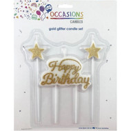 "Candle Set - Gold ""Happy Birthday"""